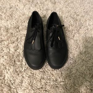 vans black leather fringe shoes